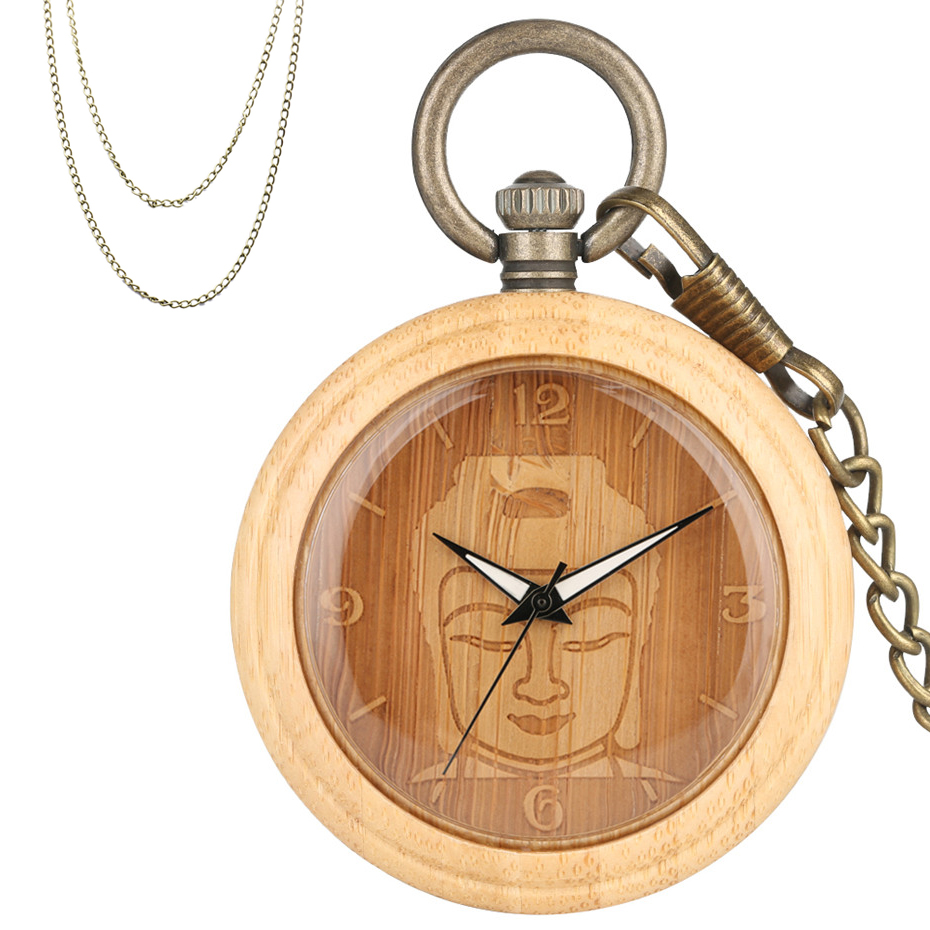 Engraving Buddha Bamboo Wooden Quartz Pocket Watch Bronze Retro Pocket Necklace Chain Creative Men Women Pendant Pure Wood Clock
