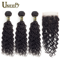 Uneed Hair Bundles With Closure Water Wave Brazilian Hair 3/4 Bundles With Closure 4x4 Lace Closure Remy 100% Human Hair Weave