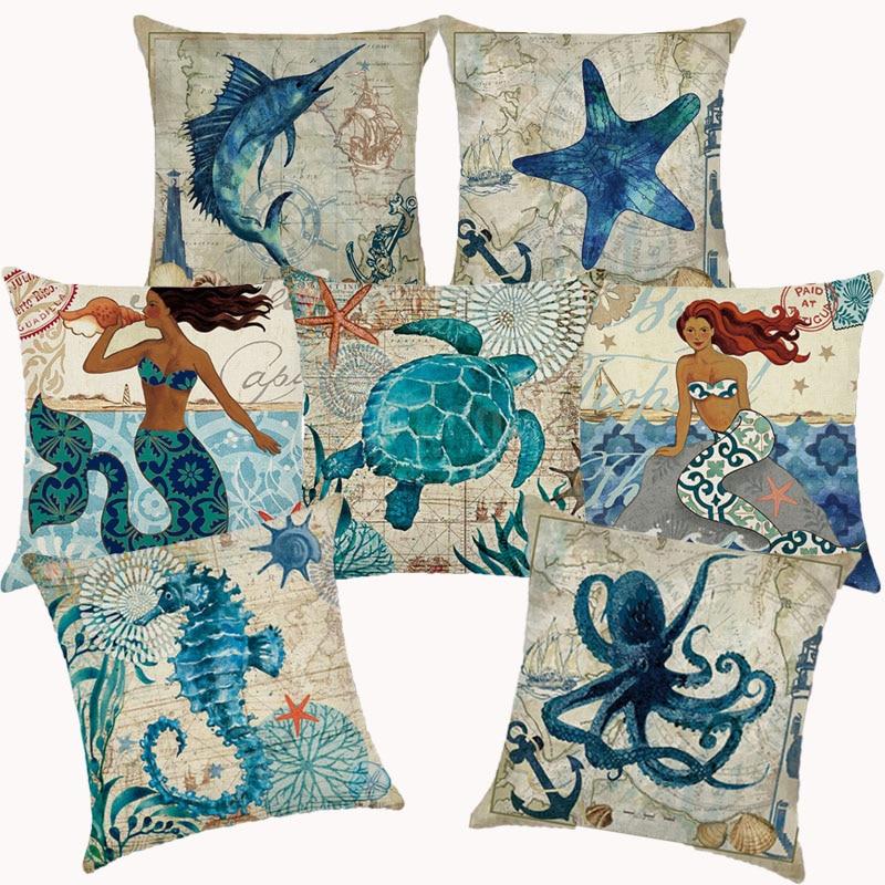 Морской Декор, наволочка в морском стиле, декоративные подушки для дивана, чехол для подушки, Наволочки для дома, 10202