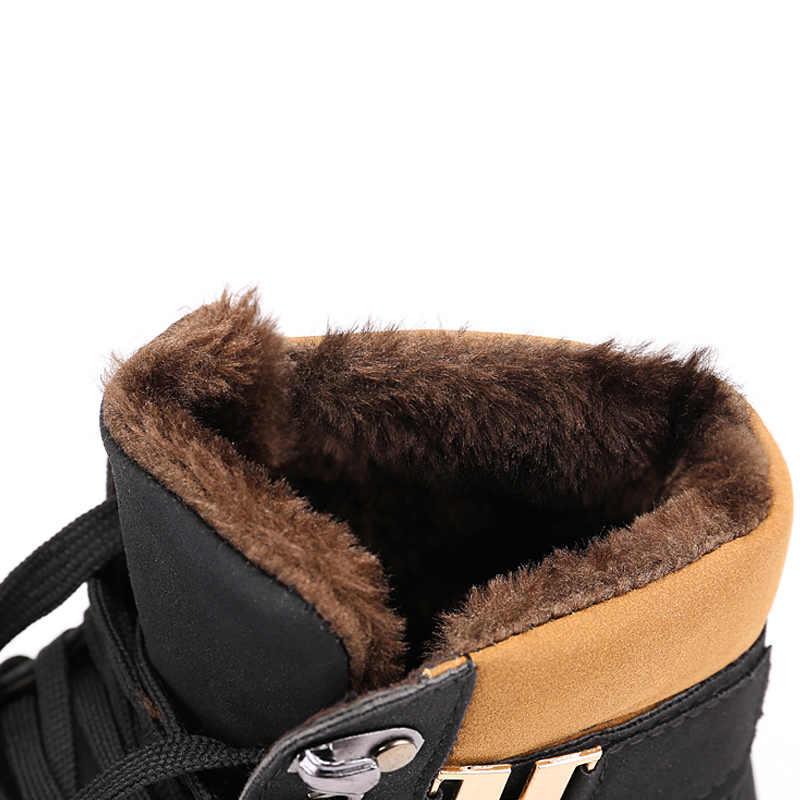 קרסול מגפי שלג גברים מגפי חורף שרוכים גברים נעלי 2019 חדש הגעה אופנה נוהרים נעלי חורף מגפיים גברים גודל 39-47