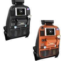 Bolsa de asiento trasero multifuncional para coche, Organizador con múltiples bolsillos, 4 cargadores USB, de cuero PU, sin bandeja, bolsillo para remolque, estilismo automático