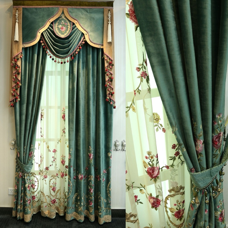 European Minimalist Modern Luxury Embroidery Shading Curtains For Living Dining Room Bedroom.
