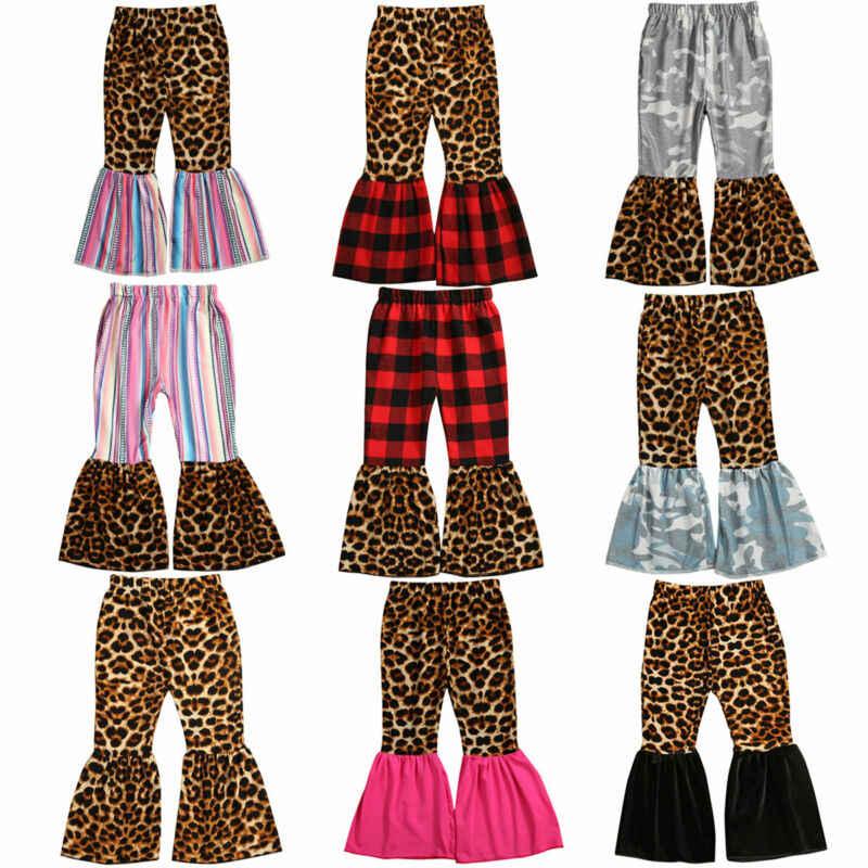 Çocuklar yürümeye başlayan bebek kız pantolon çan dipleri pantolon Legging geniş bacak Flare elbise 1-6Year