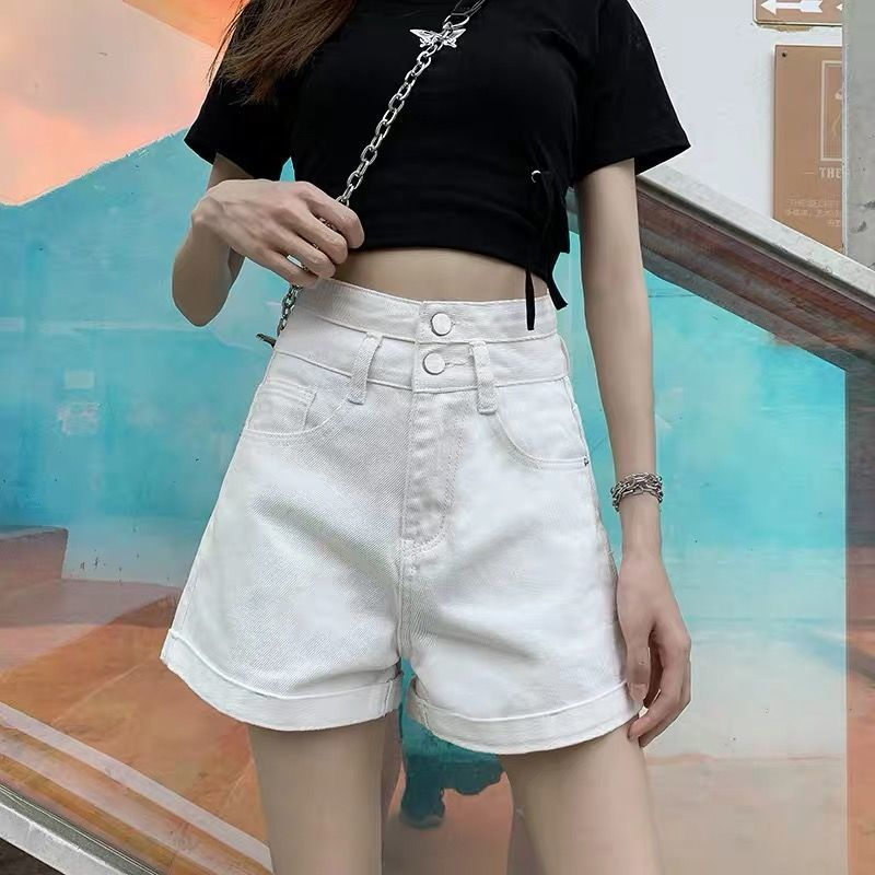 High Waisted Blue Wide Leg Women's Denim Shorts Classic Vintage Casual Female 2021 Summer Ladies Short Jeans for Women Y764 6