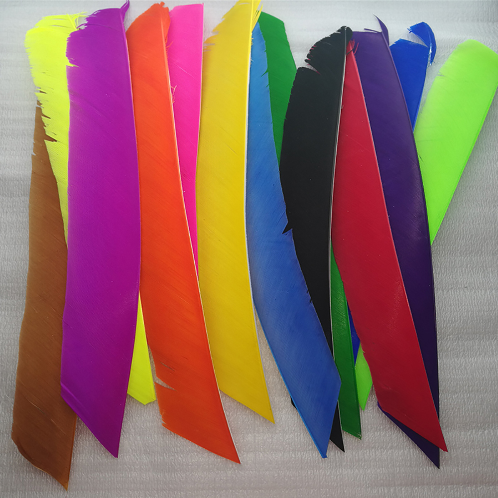 100pcs  Fletching Arrow Feathers Multicolor Full Length Real Turkey Feather For Archery Hunting And Shooting Arrow Feathe