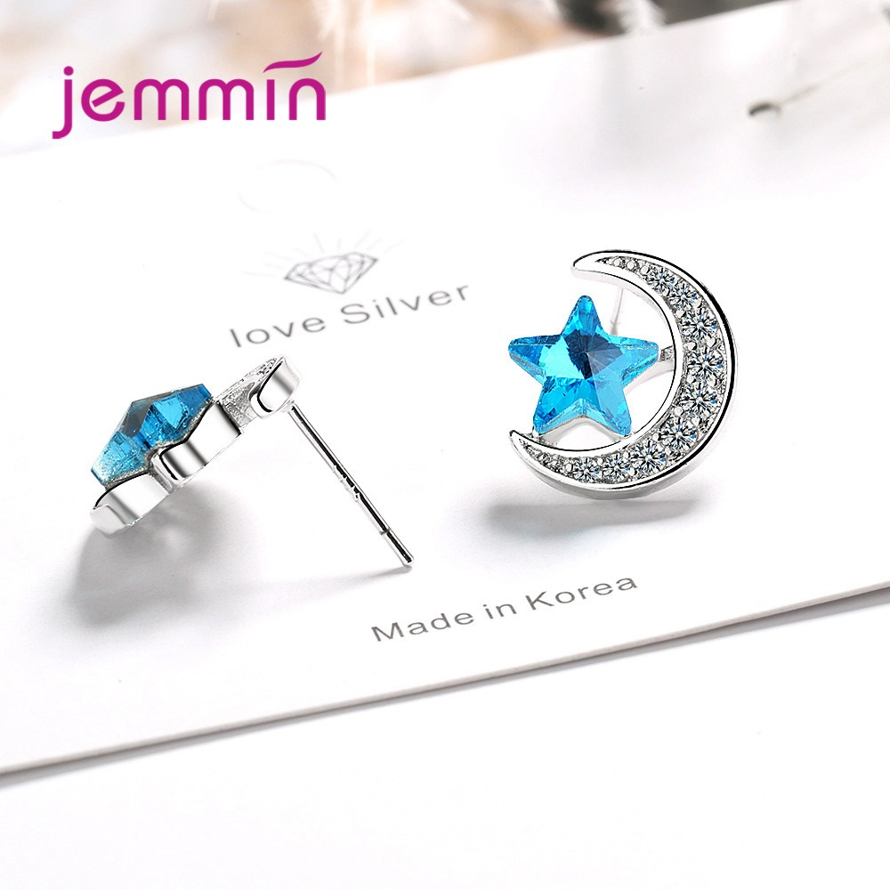 925 Sterling Silver Stud Earrings For Women Girls Party Engagement CZ Cubic Zirconia Decoration Jewelry Trendy Moon/Star Design