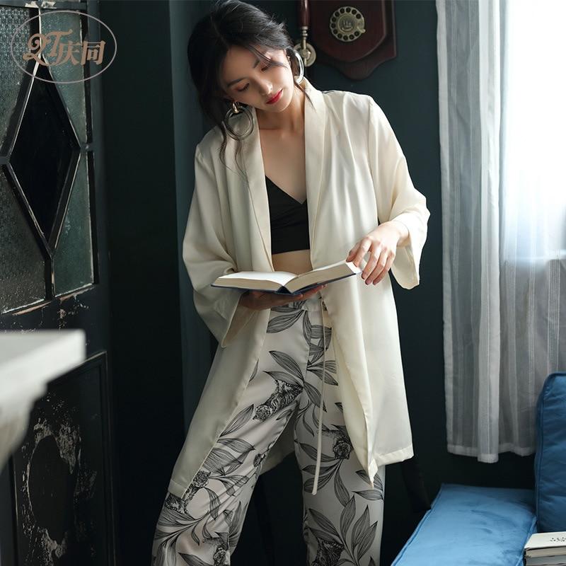 Summer Thin Women Long-sleeved Trousers Pajamas V-Neck Silk-like Pijama Mujer Sleepwear Plus Size Printing Satin Sleepwear 2 Set