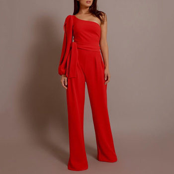 Women's Sexy Spaghetti Summer One-Shoulder Sleeve Jumpsuit Strap Wide Legs Female Loose Jumpsuit Solid Colors Bodysuit Trouser plus size plain loose wide legs jumpsuit