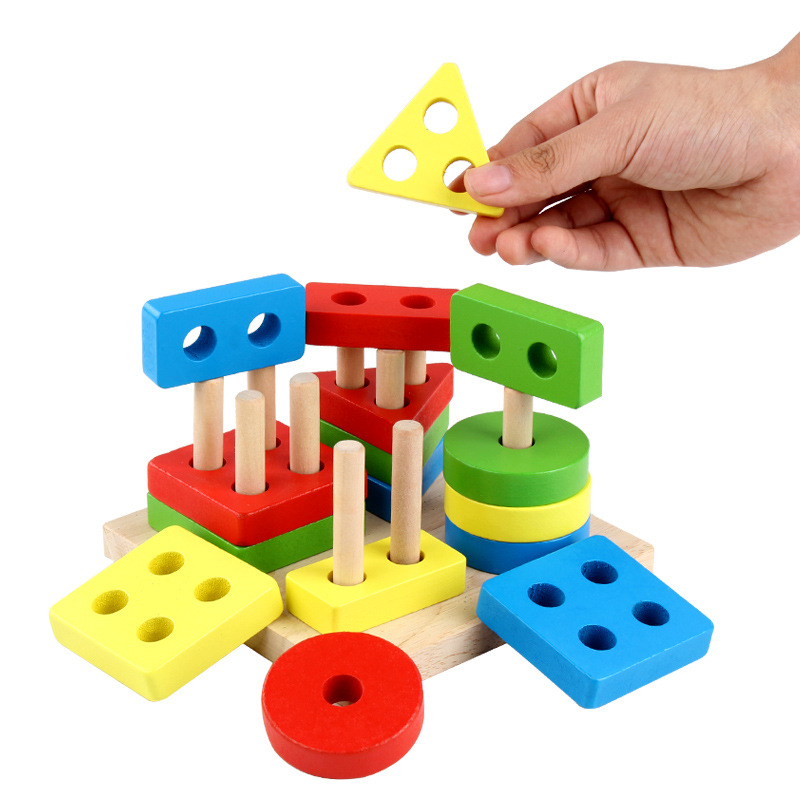 Montessori Toys Geometric Shapes Matching Games Educational Wooden Toys For Children Early Learning Exercise Hands-On Ability