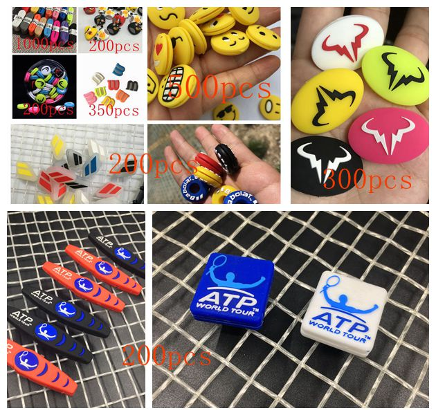 Free Shipping 1750pcs Dampers Tennis Vibration Dampener And 1000pcs Tennis Overgrips