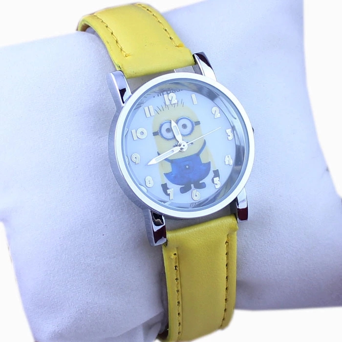 Leather Belt Watch For Male And Female Student Of Small Children Cartoon Little Yellow People