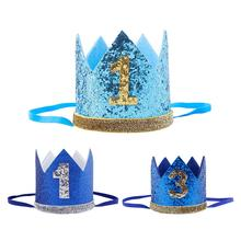 Blue Glitter Baby Birthday Crown Boy Girl 1st Party Hat Headband Decoration