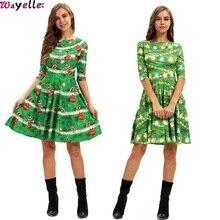 2019 Autumn Digital Print Womens Slim Dress Wild Fashion Casual Green Ladies Cool Party Dating Clothing
