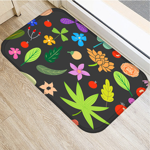 Image 1 - Color Oil Painting Flower Non slip Bedroom Decorative Carpet Kitchen Floor Living Room Floor Mat Bathroom Non slip Mat 40x60cm .