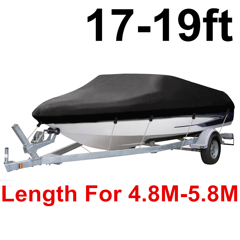 17-19ft 420D Trailerable Boat Cover Water Proof Rain Fish-Ski V-Hull Sun UV Protector Tapes Speedboat Mooring Covers D40