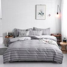 Estilo japonês 220 × 240 capa de edredão conjunto com fronha, 200 × 220 quilt cover, listras cinzentas padrão conjuntos cama tamanho king