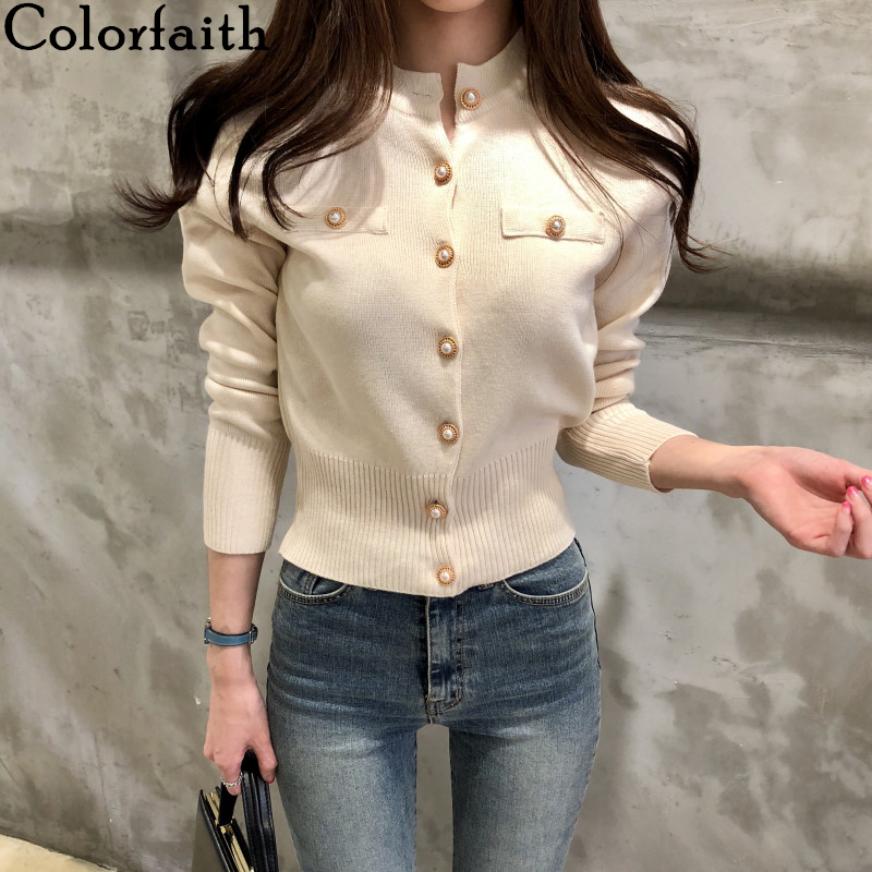 Colorfaith Women's Sweaters Autumn Winter 2019 Cardigans Knitted Button Single Breasted Fashion Korean Style Solid Tops SW7080