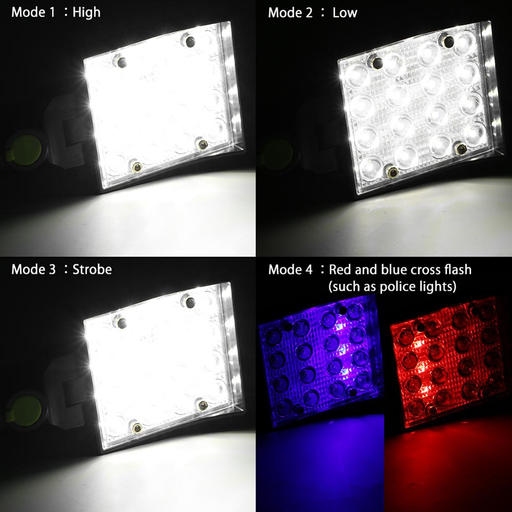 Image 5 - 16 LEDs Work Flashlights White Red Blue Light Car Repair Working Lamp USB 18650 Torch Built in Magnet Hook Tent Camping Lantern-in LED Flashlights from Lights & Lighting