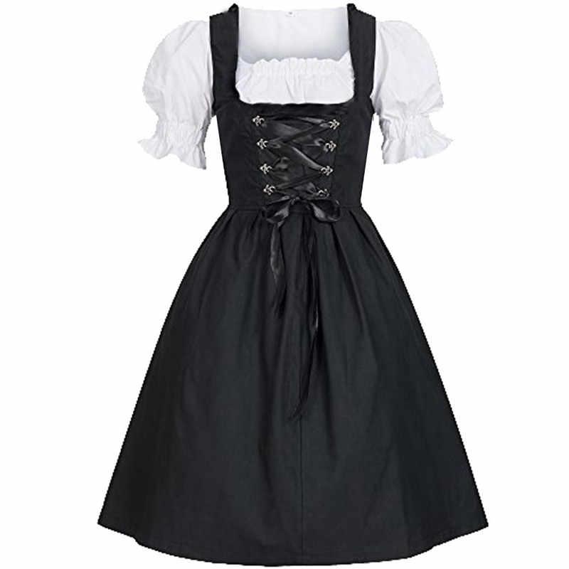Femmes Oktoberfest déguisement allemand Oktoberfest bavaroise bière Dirndl taverne robe Cosplay Costume robe de fête #40
