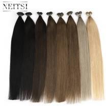 Прямые накладные волосы Neitsi, кератиновая машинка для наращивания Remy, 20 дюймов, 1 г/локон, предварительно скрепленные волосы, 24 цвета