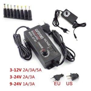 100 220V to DC 3V 12V 24V 9V 1A 2A 3A 5A AC Power Supply Adapter EU Adjustable wall Plug for LED Strip Light Driver Adaptor CCTV