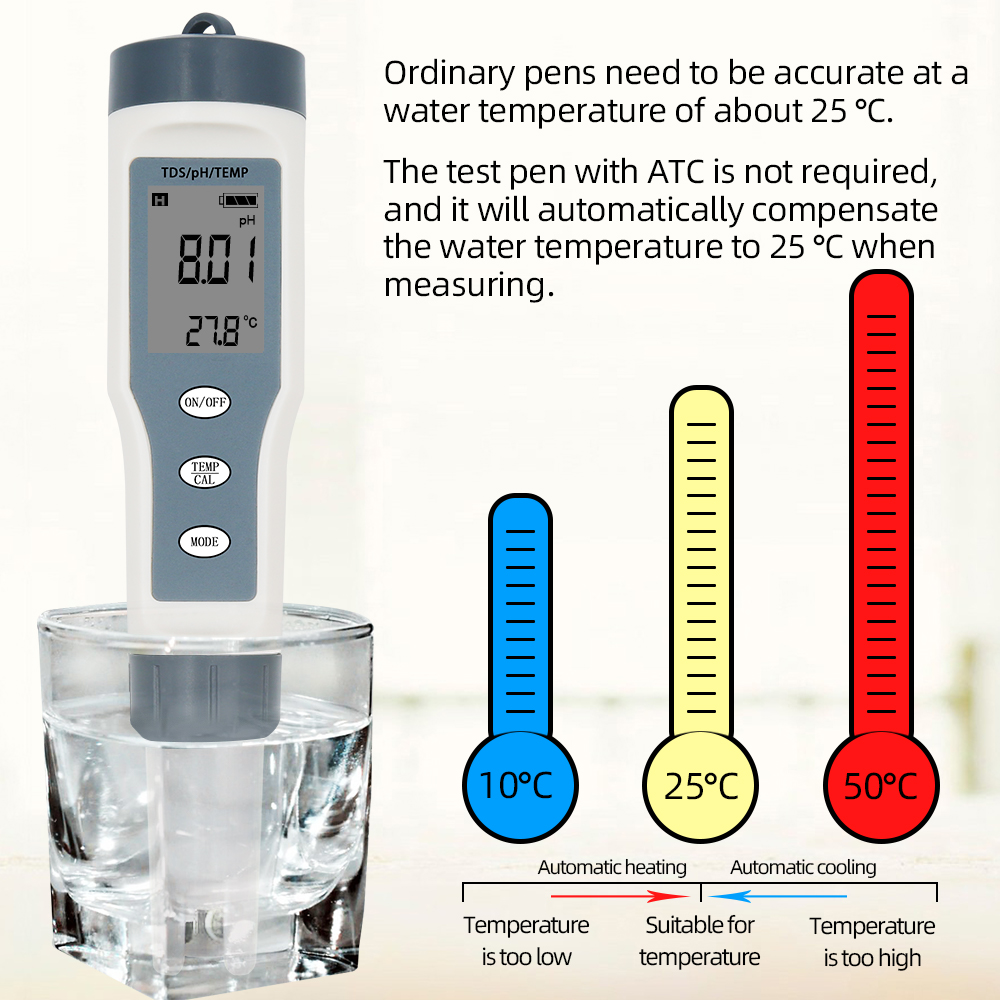 3 in 1 PH//EC//Temp Water Quality Tester with Blacklight Display Water PH Digit HG