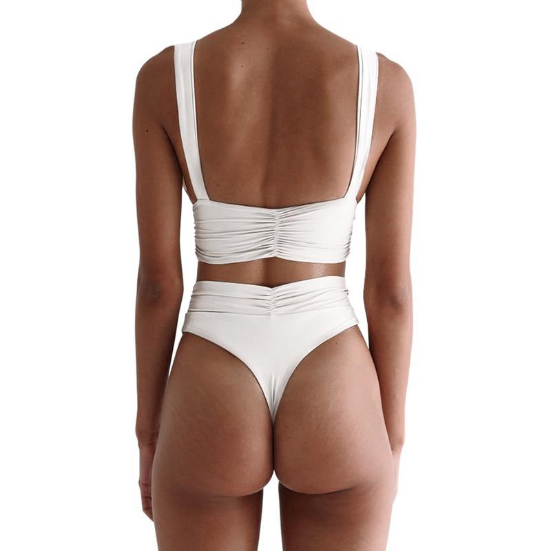 Deep v-neck swimwear women High waist bikini set Solid bathing suit 2019 Fashion summer bathers Knot swimsuit female biquini new 2