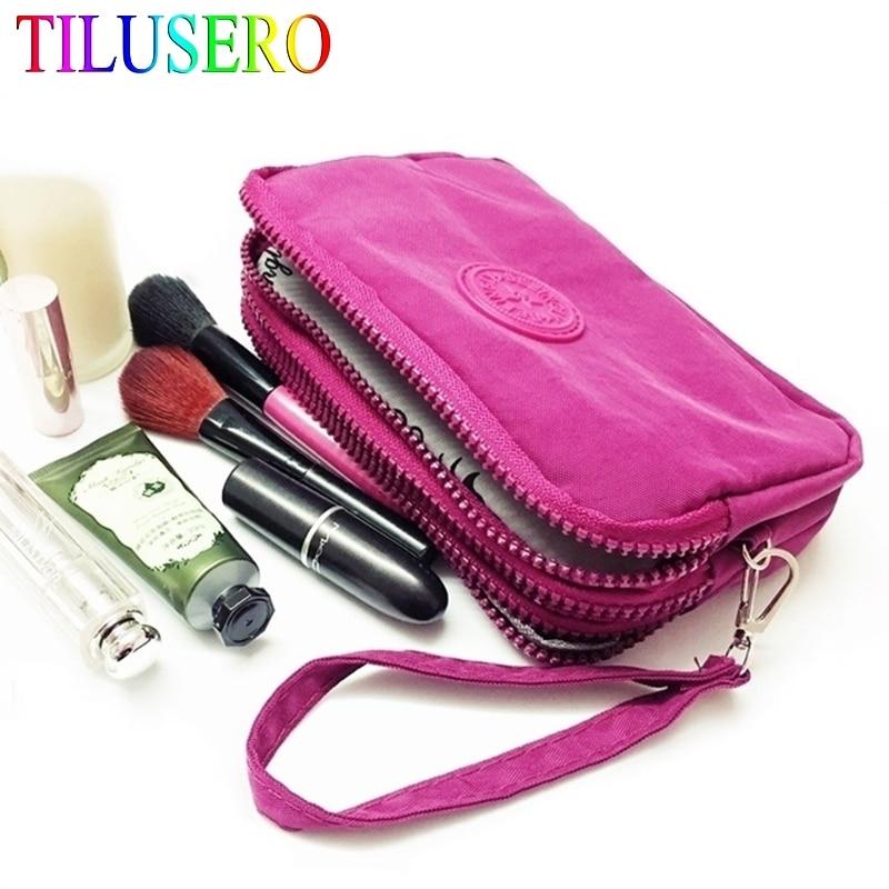 Новый Кошелек для монет, женский маленький кошелек, тканевый кошелек для телефона с эффектом потертости, переносная сумка для макияжа с тремя молниями