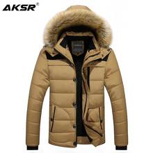 AKSR ฤดูหนาวเสื้อผู้ชายขนาดใหญ่หนา Plus กำมะหยี่เสื้อคลุม Parka Zipper Windbreaker ยาว Abrigo hombre