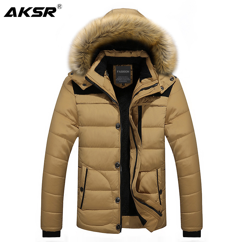 AKSR Winter Jacket Coat Men Large Size Thick Plus Velvet Hooded Fur Collar   Parka   Men Zipper Windbreaker Long Coat Abrigo Hombre