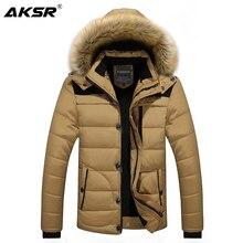 AKSR الشتاء سترة معطف الرجال حجم كبير سميكة زائد المخملية مقنعين الفراء طوق سترة الرجال سستة سترة واقية طويلة معطف Abrigo hombre