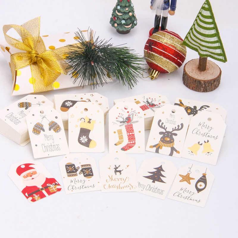 50 قطعة لتقوم بها بنفسك كرافت العلامات عيد ميلاد سعيد تسميات هدية التفاف بطاقات ورقيّة للتعليق سانتا كلوز ورقة بطاقات حفلة عيد الميلاد لوازم