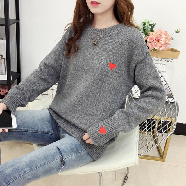 Ailegogo Autumn Winter Knitted Heart Printed Women Pullovers Sweater Casual Woolen Warm O-neck Long Sleeve Female Sweater 3
