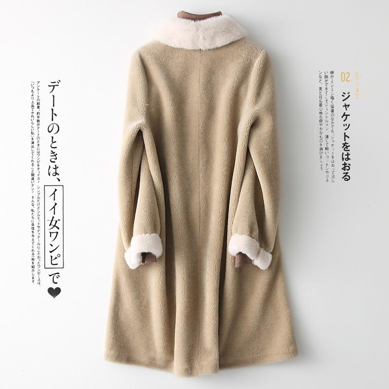 Real Long Fur Coat Women Winter Shearing Wool Coat Female Jacket Mink Fur Collar Korean Abrigo Mujer 2020 868587 KJ2579