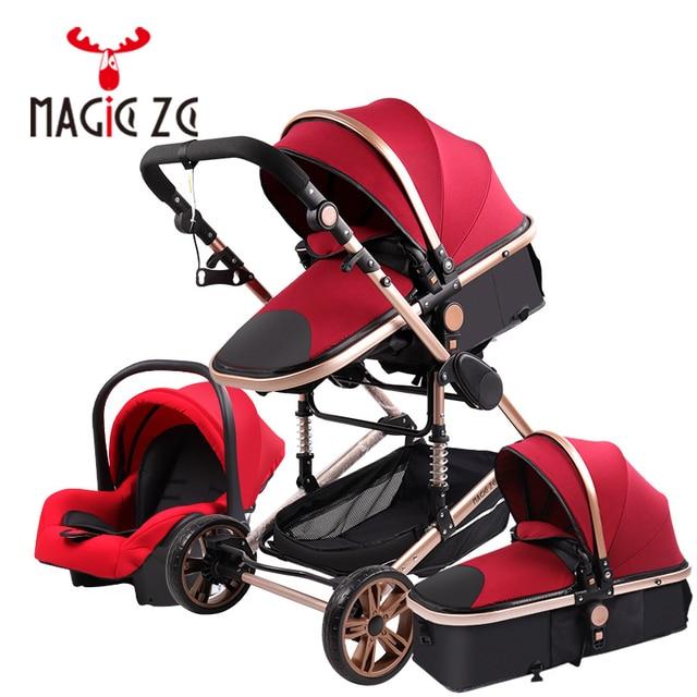 Carrinho de criança 3 em 1 portátil viagem carrinho de bebê dobrável carrinhos quadro alumínio alta paisagem carro para recém-nascidos babyboomer poussette 3