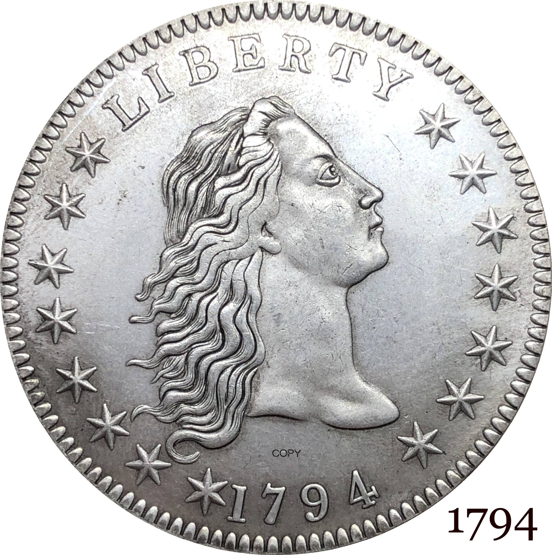 Монета США и Америки 1794 Liberty, волнистые волосы, 1 долл., Мельхиор, посеребренные копировальные монеты