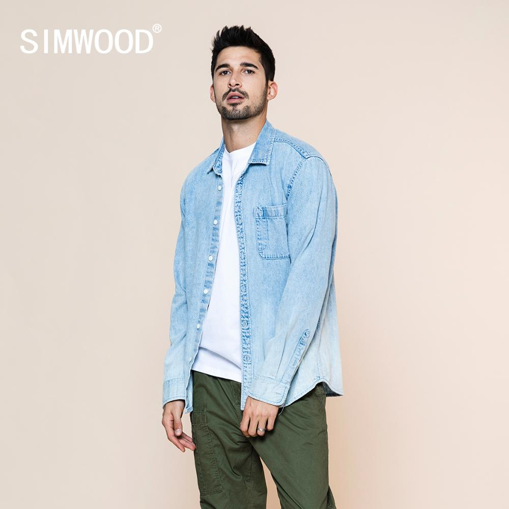 SIMWOOD 2020 spring summer new washed-denim western Shirt men fashion 100% cotton plus size comfortable shirts SJ120008
