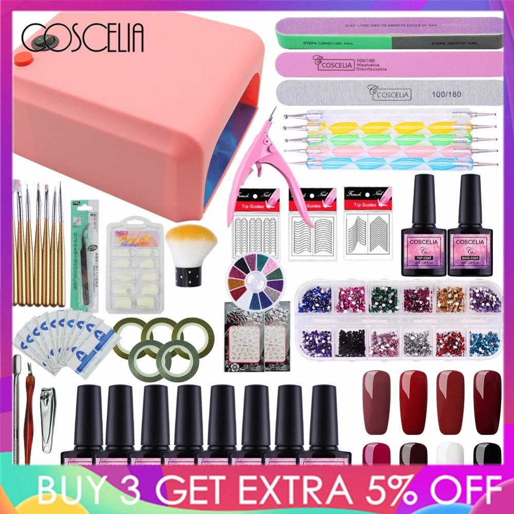 Set For Nail Gel Manicure Set Nail Kit Set 8 Color UV Gel Polish 36W UV LED Lamp UV Gel Nail Art Tools Nail Gel Kit
