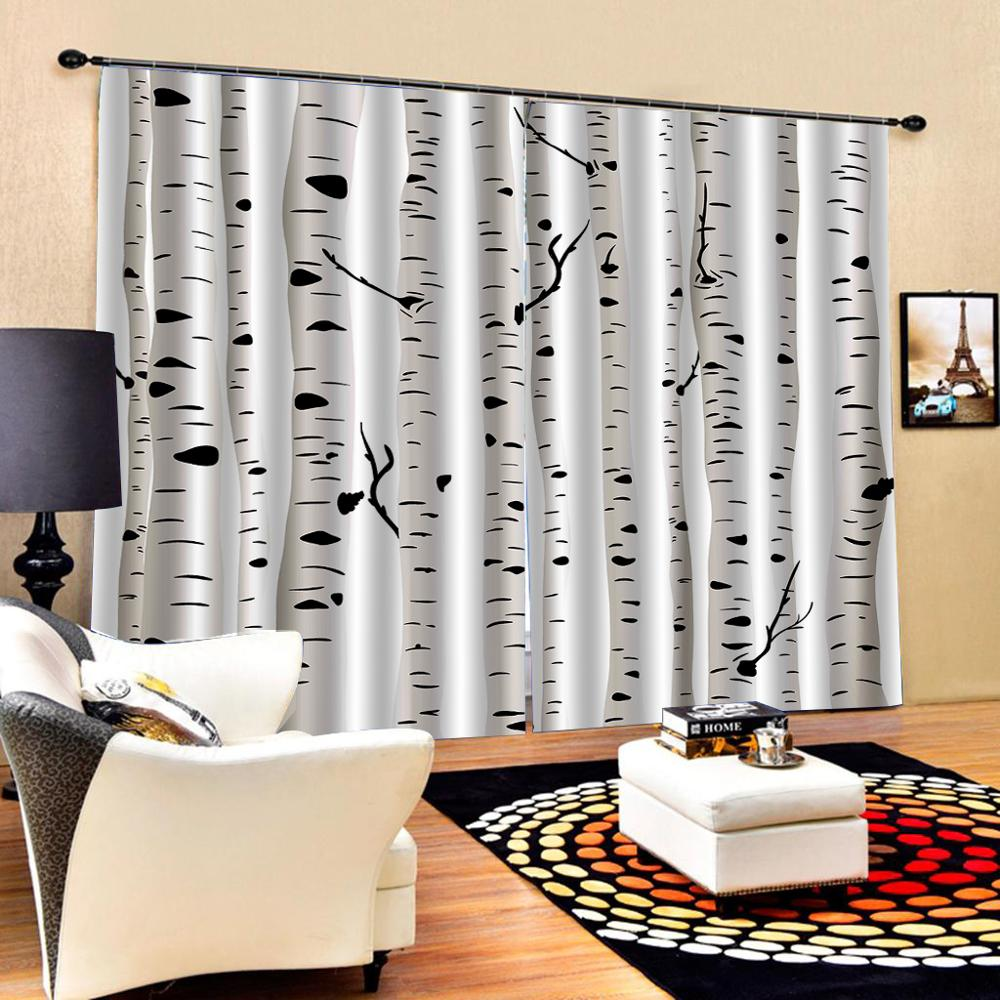 white forest tree curtains Customized size Luxury Blackout 3D Window Curtains For Living Room Decoration curtains