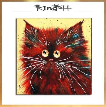 Pintura al óleo de cara de animal divertido es lienzo pintura de...