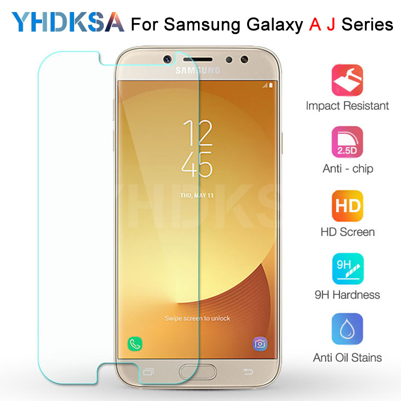 Premium Tempered Glass On For Samsung Galaxy J3 J5 J7 A3 A5 A7 2015 2016 2017 A6 A8 A9 2018 Screen Protector HD Protective Film