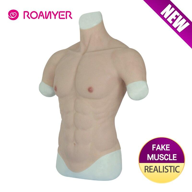 Roanyer realista falso músculo barriga macho realista silicone simulação artificial músculo homem pele acima do corpo