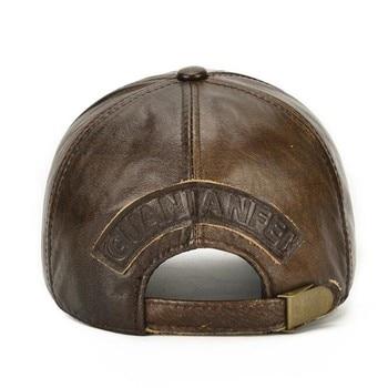SHALUOTAOTAO Snapback Cap Quality Cowhide Genuine Leather Hat Men Autumn Winter New Thermal Adjustable Size Brands Baseball Caps 4
