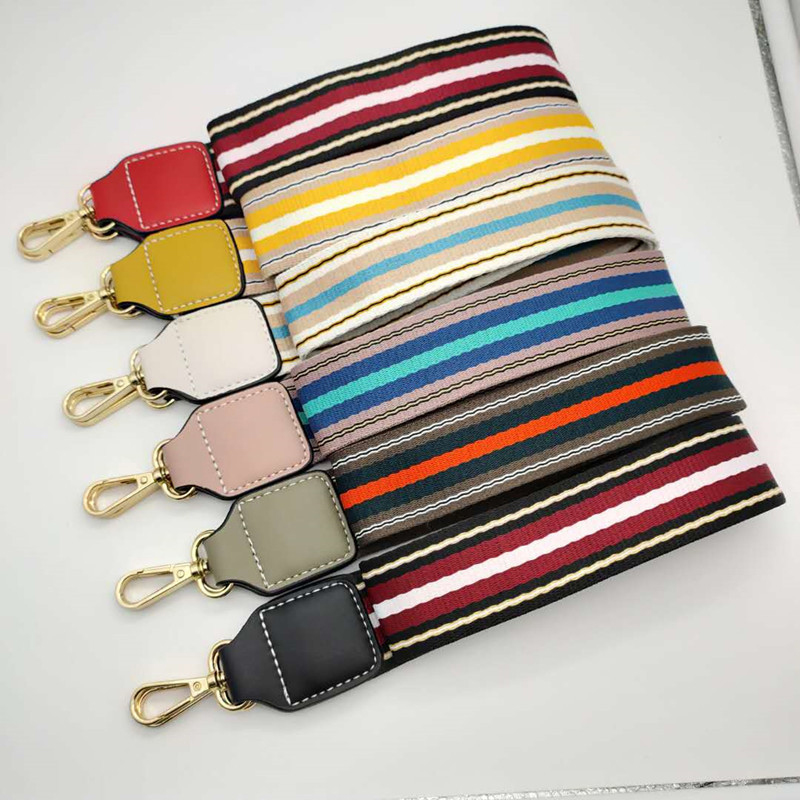 Fashion Bag Strap Handbag Handle Belts Canvas Wide Stripe Shoulder Bag Strap Replacement Decoration Adjustable Bag Accessories