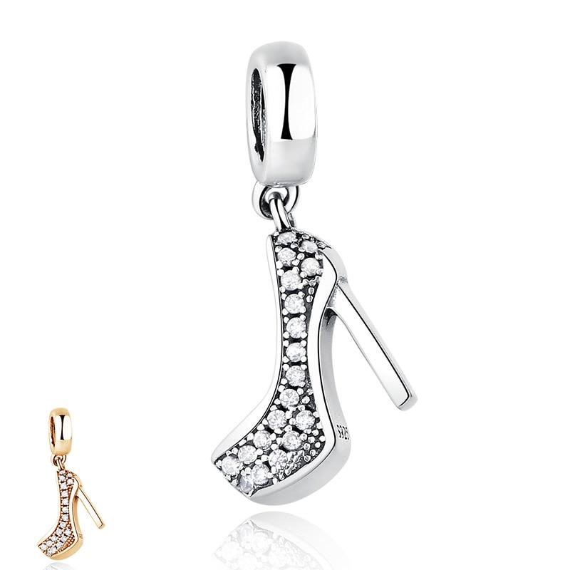 Luxury 925 Sterling Silver High Heels Shoe Pendant Charm Fit Original Pandora Charm Bracelet with Cubic Zirconia DIY Jewelry(China)