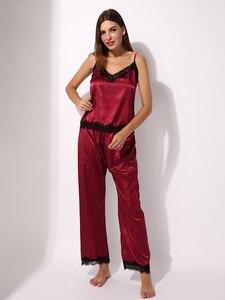 Image 4 - Pijamas de cetim conjunto de pijamas cami topo longo calcinha macia pj conjunto sexy nightwear macio homedress