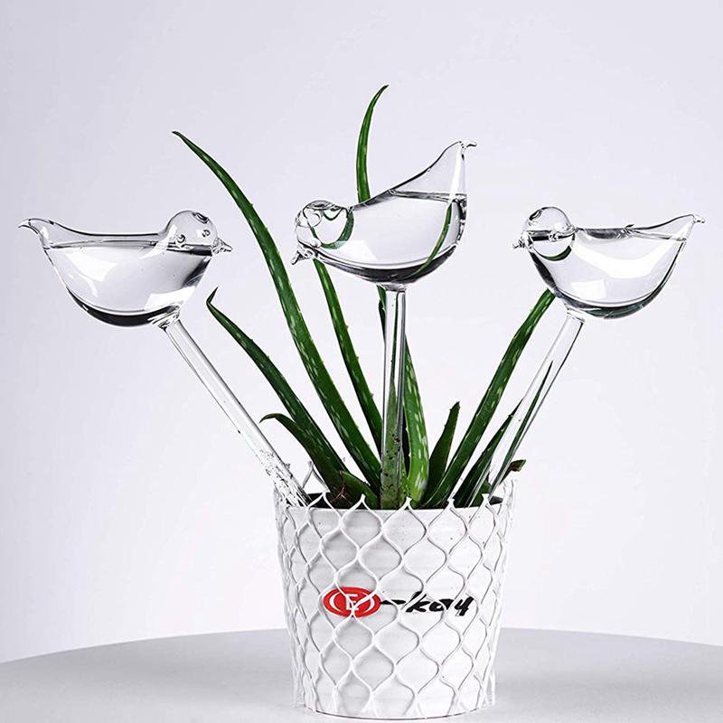 3 Pack Plant Waterer Self Watering Globes, Bird Shape Hand Blown Clear Glass Aqua Bulbs