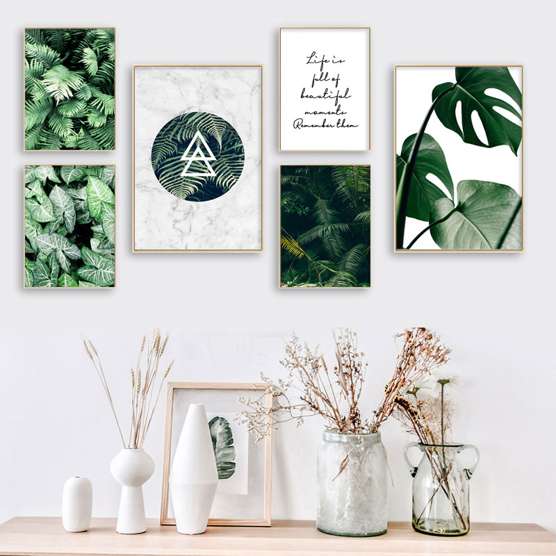 Green Plant Monstera Fern Canvas Wall Painting Art Poster Nordic Botanical Print Scandinavian Picture For Living Room Home Decor
