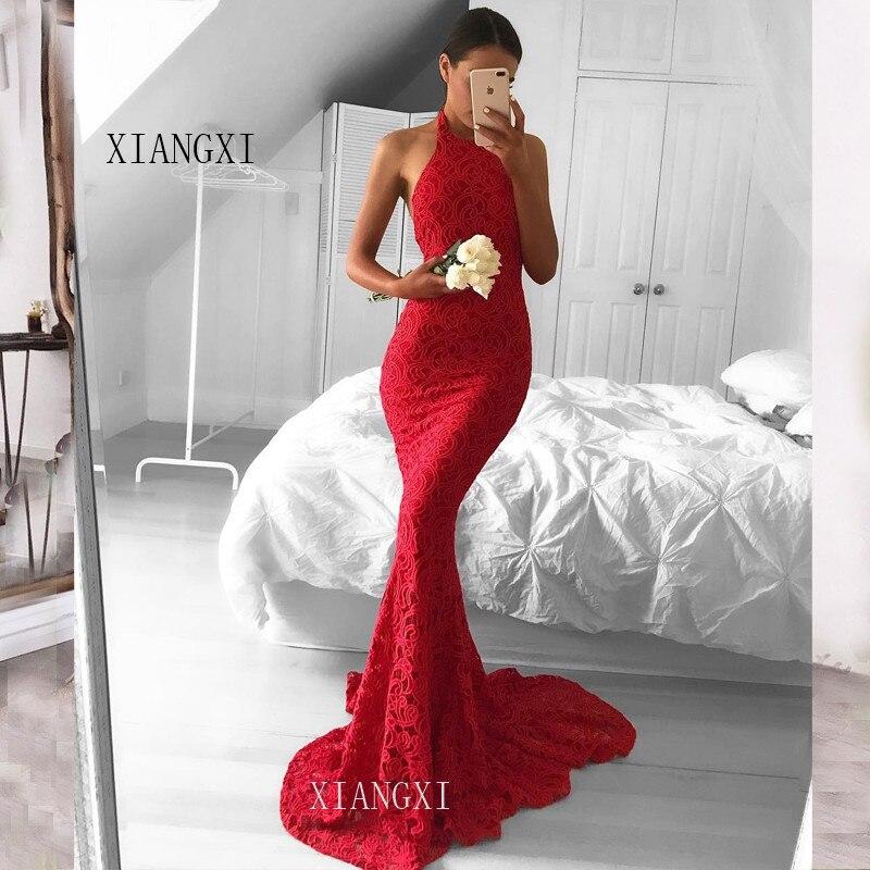 Red Mermaid Evening Dresses Long Sweetheart Sleeveless Floor Length Evening Dress Party Gowns vestido de festa