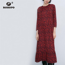 ROHOPO Round Collar Red Animals Printed Long Sleeve Black Midi Dress Cake Layer Ruffled Pleated Vestido #9777 цена 2017